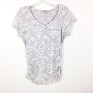 Fresh Produce Gray Print Side Ruched Knit Top M